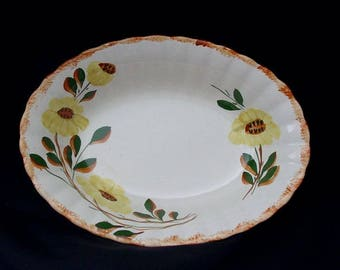 Blue Ridge Bowl Oval Vegetable 7 x 9.5 x 2 COUNTRY ROAD Hand Painted Colonial Goes with Thanksgiving Turkey Yellow Flowers  (B33) 9939