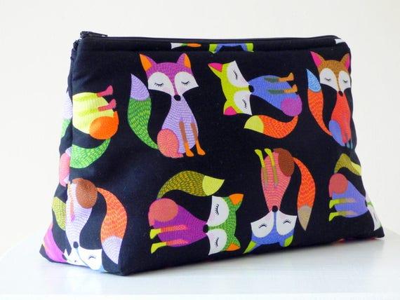 Black Cotton Laundry Bag: Fox Wash Bag Toiletry Bag Large Makeup Bag Fox Travel Bag