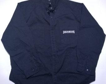 Plain Black Harley Davidson Long Sleeve Oxford Button Up Shirt 4XL
