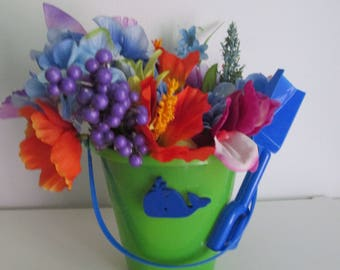 Beach Pail Themed Silk Flower Arrangement featuring Wooden Whale Charm and a Shovel