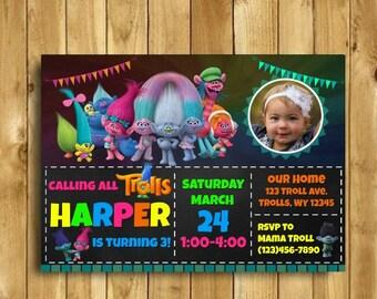 Trolls Birthday Invitation, Trolls Invitation, Trolls Party, Trolls Birthday Party, Trolls Birthday Invitation with Picture, Digital, 5x7