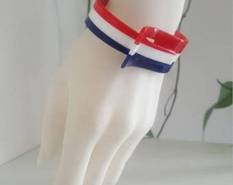 Vintage Tri-Colour Plastic Bracelet -  1960s Mod - Hinged Cuff - Clamper - Buckle - Red, White and Blue Patriotic