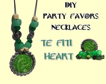 5 DiY Te Fiti kit Party favor necklaces. Moana green beads favors craft crafting parties bottle cap necklace