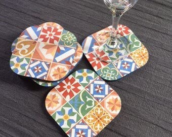 6 multicolored mosaic design wood drink coasters