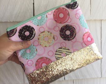 Donuts and Glitter Zippered Pouch