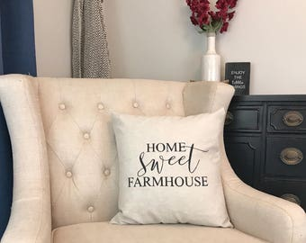 Home Sweet Farmhouse Pillow - New Farmhouse - First Home Gift - New House Gift - Country Housewarming Gift - New Rustic Home - Fixer Upper