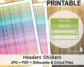 60% OFF SALE Headers Printable Planner Stickers, Erin Condren Planner Stickers, Headers Printable Stickers, Headers Stickers - Cut Files
