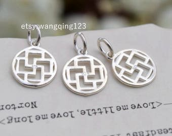 3 pcs sterling silver square round charm pendant geometry , NR9