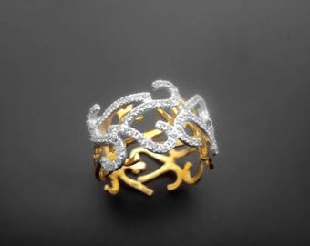 Diamond Ring, 14k Yellow Gold, 14k White Gold