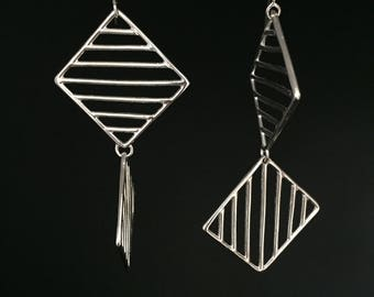 Lines and Shapes Dangly Earrings, Squares