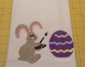 EASTER - Bunny Painting Easter Eggs! Embroidered Williams Sonoma All Purpose Kitchen Hand Towel, 100% cotton, XL