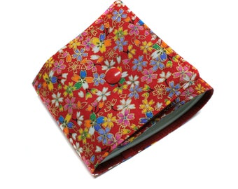 long red checkbook holder in Japanese small flowers fabric