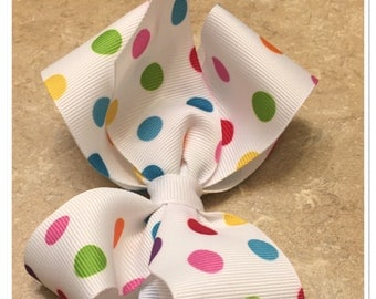 Colorful polka dot hair bow ~ boutique hair bow ~ stacked hair bow ~ ncredibow creations
