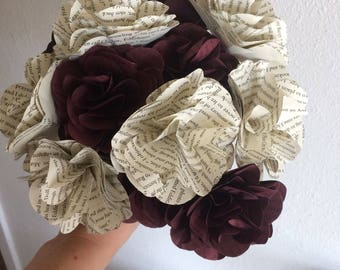 Book paper and burgundy flower bouquet, bride bouquet, wedding, anniversary, engagement
