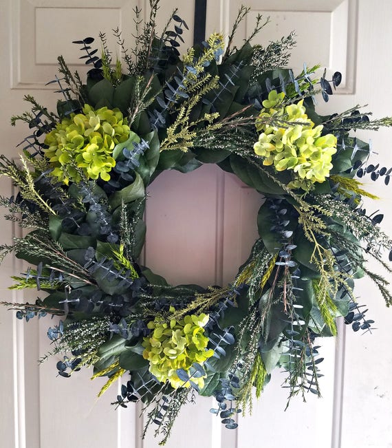 24 inch wreath, hydrangea wreath, preserved wreath, custom, preserved wreath, wreath, natural wreath, salal wreath, indoor wreath