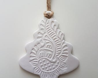 Tree shaped white clay decoration with ethnic henna style design. Christmas. Hanging ornament. Clay tag. Secret Santa. Teacher gift.