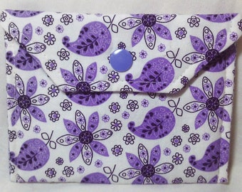 Card Holder/Money Holder - Purple and White Flowers