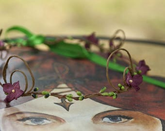Headband Crown with Mulberry flowers and spirals