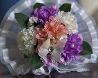 Colorful flowers bridal bouquet