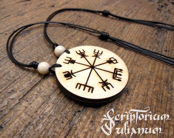 Wooden Vegvisir necklace, Vegvisir pendant, Viking compass jewelry, pagan jewellery,gift for him her, Norsk gift Nordic magical stave,Ostara