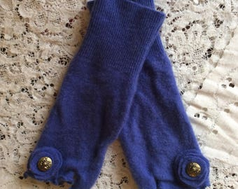 Felted cashmere fingerless gloves, upcycled