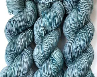 "Hand Dyed Yarn ""Loose and Complete (Less Smoky)"" Blue Green Grey Speckled Merino Nylon Fine Fingering Sock Superwash 463yds 100g"