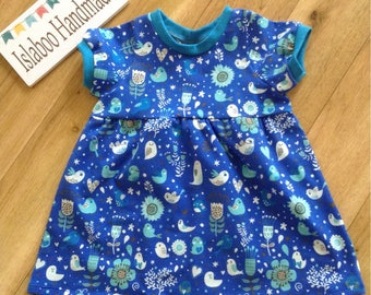 Girls pretty blue birds and flowers dress, blue bird dress, baby blue bird and flowers dress, birds and flowers dress