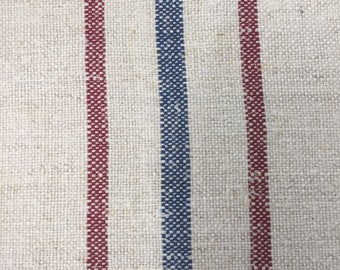 Authentic Vintage European linen about 1900-1920-3 Stripes-Red-Blue-Red