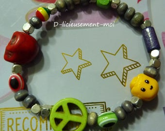Bracelet elastic boy rock lego minifigure head yellow polymer clay and Red Skull beads, wood and various