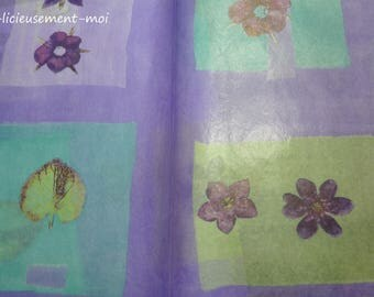 Leaf flower turquoise green purple leaf decoration and collages decopatch