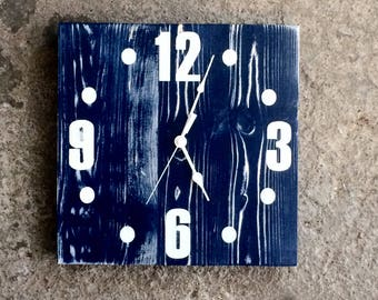 "Nautical Square Solid Wood Wall Clock - 12"" - Blue Distressed Clock Face - Choose Your Color - made by Seeka Decor"
