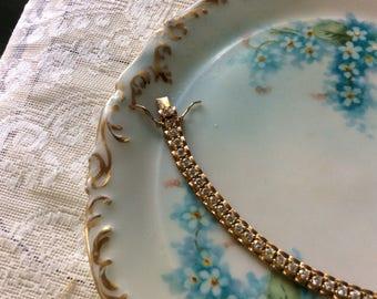 """Vintage Tennis Bracelet, Sterling 925 with 14k Gold Plating, 7/14"""" Long, Mint!"""