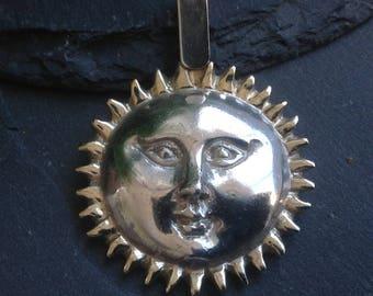 """15.92g Sergio Bustamante Artisan 1 3/4"""" Sterling Silver Sun Face Pendant"""
