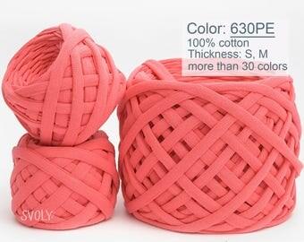 Coral T-shirt yarn Pink fabric yarn 100% cotton yarn Spaghetti yarn Bulky cotton Craft material / 630PE / 5 m (5.5 yrds)
