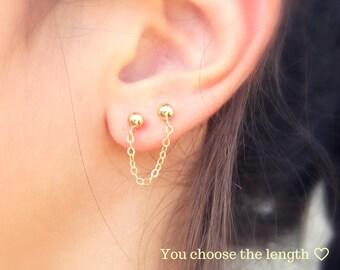 Chain Stud Earrings, Chain Drop Earrings, Gold Drop Earrings, Double piercing, Minimalist Earrings, Trendy Earrings, Gold Filled, Fashion.