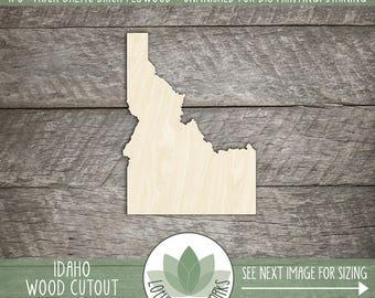 Idaho State Wood Cut Shape Shape, Unfinished Wood Idaho Laser Cut Shape, DIY Craft Supply, Many Size Options