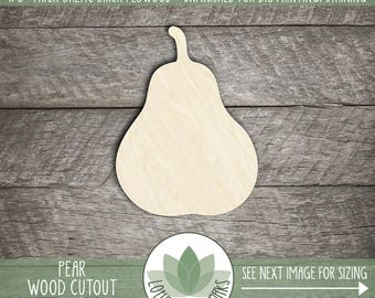 Pear Cutout, Wood Pear Shape, Laser Cut Wood Pear, Unfinished Wood For DIY Projects, Wooden Pear, Wood Shapes