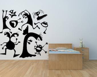 Little Monsters Sheet Of Vinyl Wall Art Decals