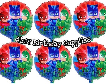 6 Pc PJ Masks Balloons Party Birthday Supplies