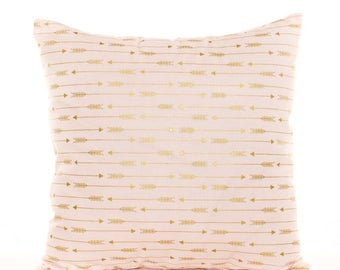 SALE ENDS SOON Pink and Gold Arrow Pillow Cover, Pink Throw Pillows, Metallic Gold Arrows, Arrow Fabric, Soft Pillowcases, Pink and Gold Nur