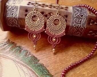 SALE 20% mandala macrame brass macrame earrings mandala earrings