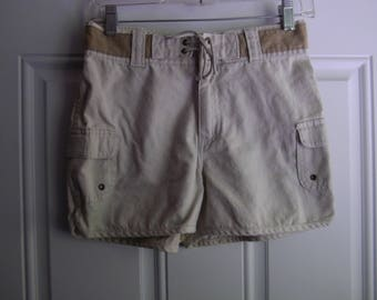 Girls Beige Canvas Shorts with Side Pockets, Zana-di, Size 14, 1990's