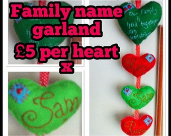 Personalinsed hanging garland with family names, hanging decoration, felt garland, this family is held together with heart strings