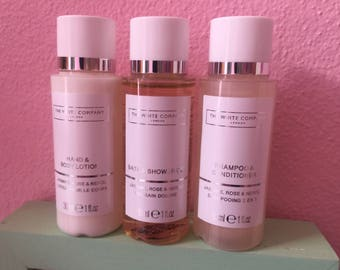 The White Company London - Travel Set - Body Lotion, Shower and Shampoo - Jasmine, Rose and Neroli - 3 units