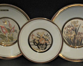 Vintage Art of Chokin 24k Gold Trim Collector Plates