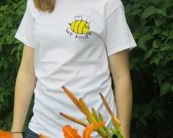 Bee kind tee shirt hand painted