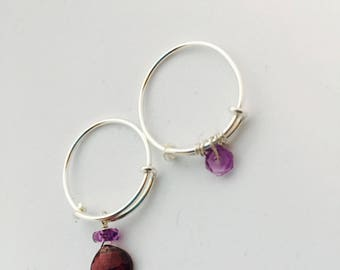 sterling silver stack rings with semi precious