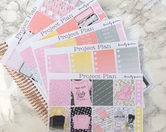 Beauty Queen Weekly Planner Sticker Kit 145+ Stickers For Erin Condren Life Planner (Sticker Kit, Planner, Full Kit, Makeup,Fashion,Perfume)