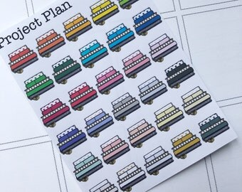 30 Multi Colour Planner Stack Planner Stickers (Organise,Pretty,Red,Yellow,Green,Blue,Purple,Green,Planner Stickers,Deocrative,Functional)