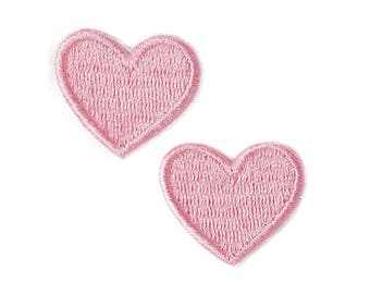 Pink Hearts Iron On Applique, Pink Hearts Iron On Patch, Love Patch, Heart Patch, Fun Patch, Embroidered Patch (110210)